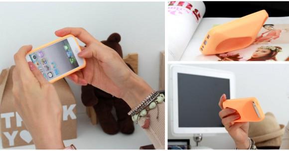 x-idiP-MI5-Orange-Mango-iPhone-5-Silicon-Case-Comfortable-Grip-and-Standing